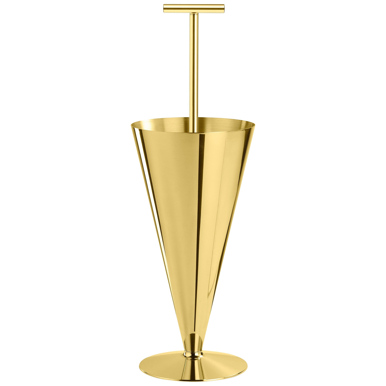 Ghidini 1961 Tumbrella Umbrella Stand in Glossy Brass by Richard Hutten