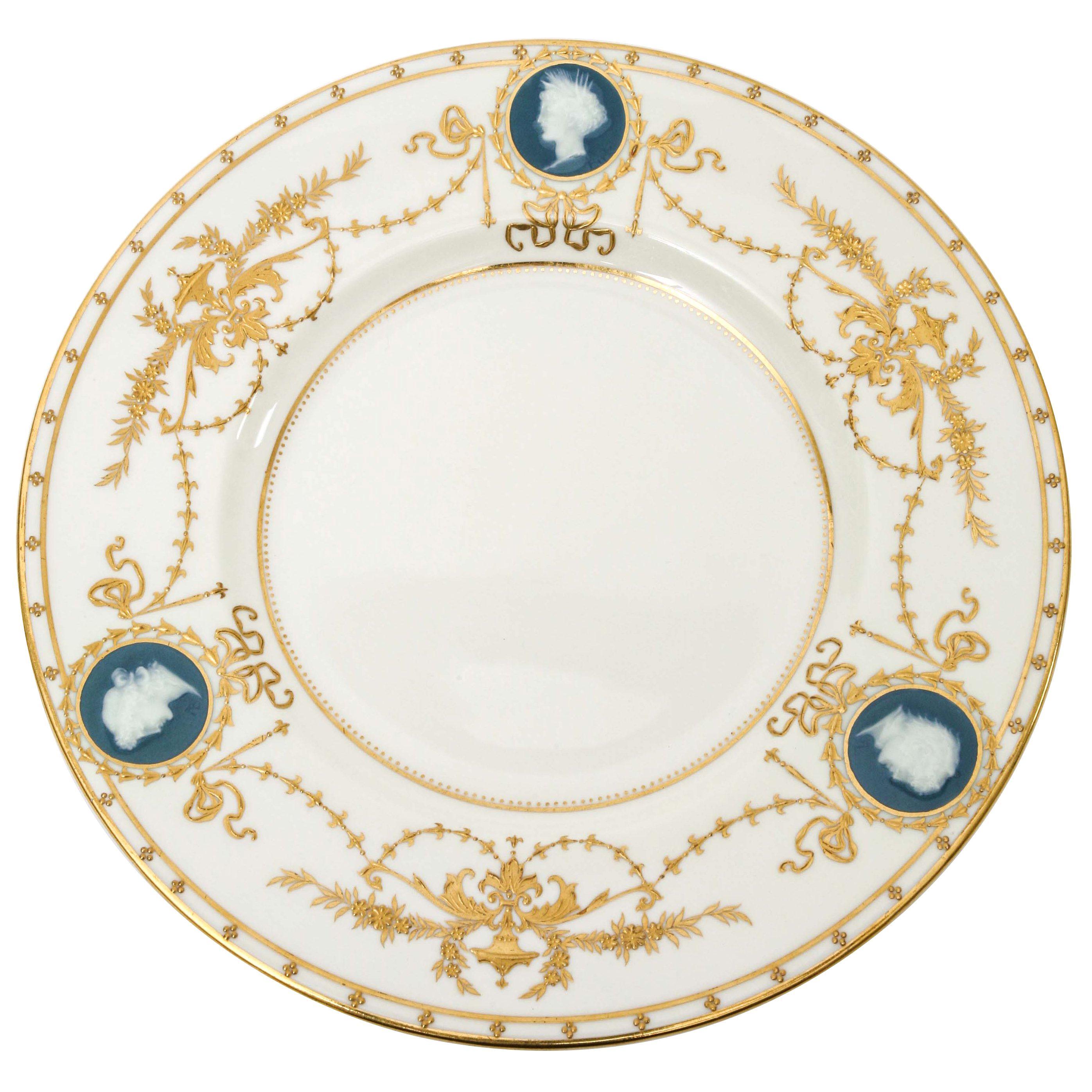 4 Minton for Tiffany Pâte-sur-Pâte Signed Alboin Birks Plates, Raised Gilding