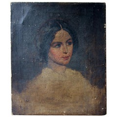 Mid-19th Century Unfinished English School Portrait of a Young Lady