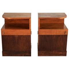Pair of Art Deco Bedside Pedestals, Oak and Mahogany