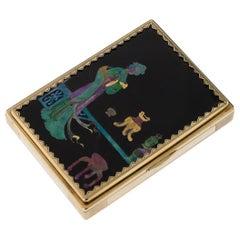 Antique Cartier Art Deco 18 Karat Gold & Lacque Burgaute Vanity Caseb circa 1920