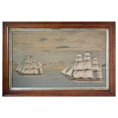 Sailor's Woolwork Picture of Two Ships in Tropical Waters