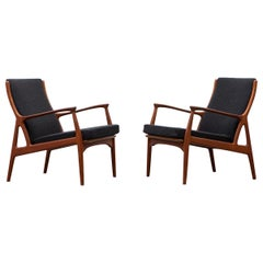 1960s Brown Teak Frame Set of Lounge Chairs by Erik Andersen & Palle Pedersen