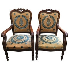 19th Century Pair of Italian Upholstered Mahogany Seats with Armrests, 1890s