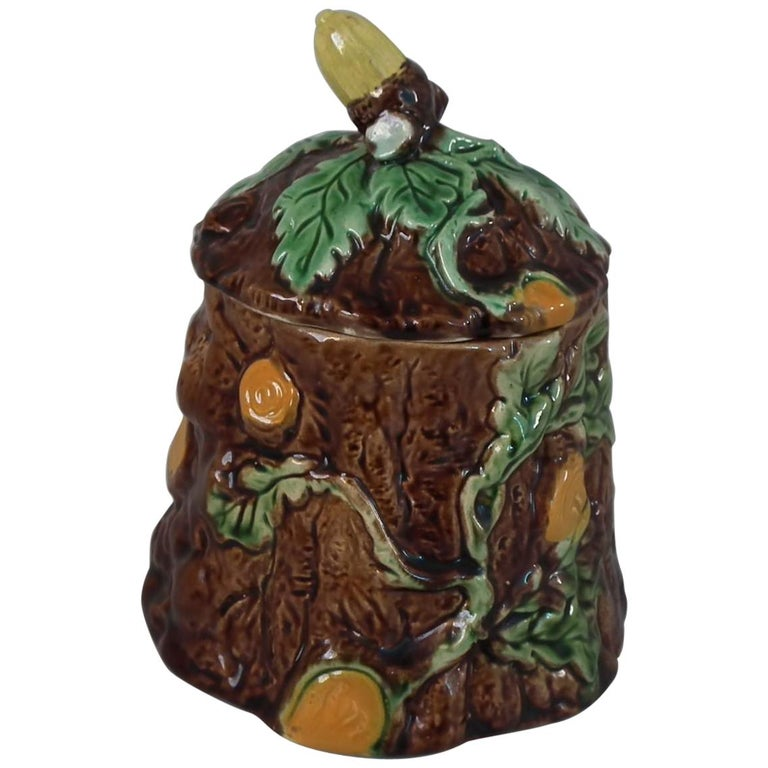 Majolica Oak and Acorn Pot and Cover For Sale
