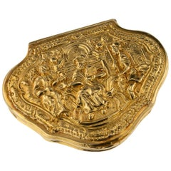 Antique English 18 Karat Gold Snuff Box, Queens Guards Regiment, circa 1750