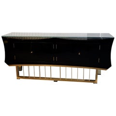 Midcentury Black Shellac Brass and Glass Italian Sideboards, 1940
