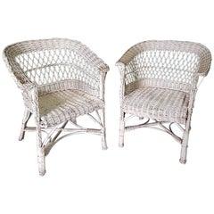 Pair of Mid-Century Modern Dutch Wicker Garden Chairs