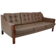 Scandinavian Midcentury Three-Seat Leather Sofa and Rosewood, 1970s