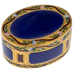 Antique French 18-Karat Gold and Hand Painted Enamel Snuff Box, circa 1770