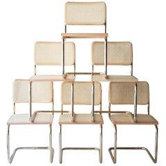Marcel Breuer MYC Gavina Gold Beige Beech Wood Cesca Brass Chair, Italia, 1960