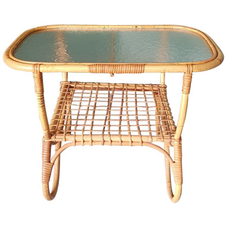 Vintage Mid Century Modern Wicker Side Table
