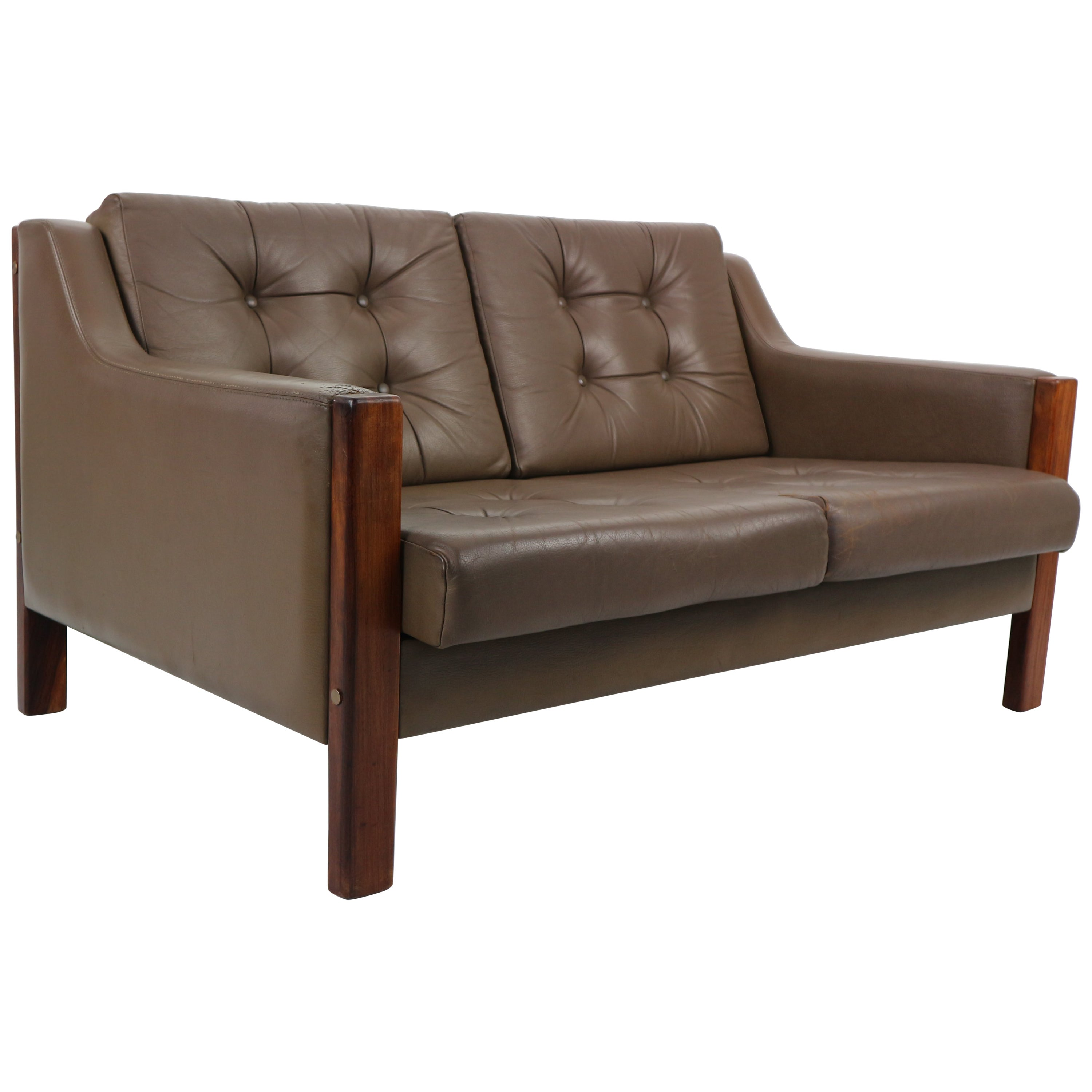 Scandinavian Midcentury Two-Seat Leather Sofa and Rosewood, 1970s