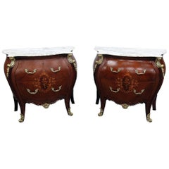 Pair of French Empire Style Marble-Top Commodes