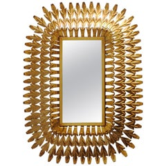 Midcentury Rectangular Gilt/Gold Leaf Sunburst Iron Wall Mirror, 1950s
