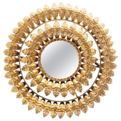 Midcentury Round Gilt/Gold Leaf Sunburst Iron Wall Mirror, 1950s