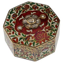 Antique 19th Centuey Indian Gem Set and Enamelled Gold Box, Jaipur, circa 1890