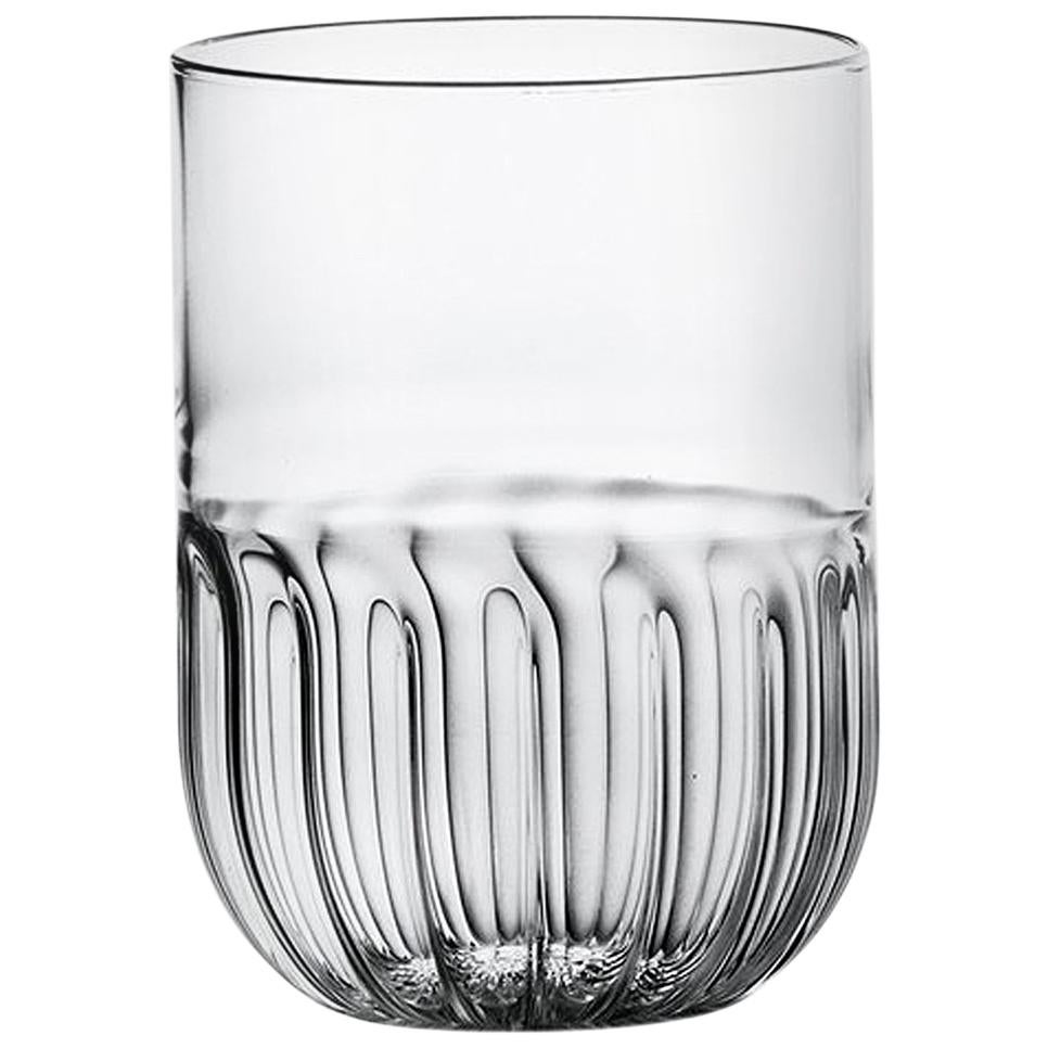 Routine Set of Four Water Glass in Mouth Blown Glass Designed by Matteo Cibic