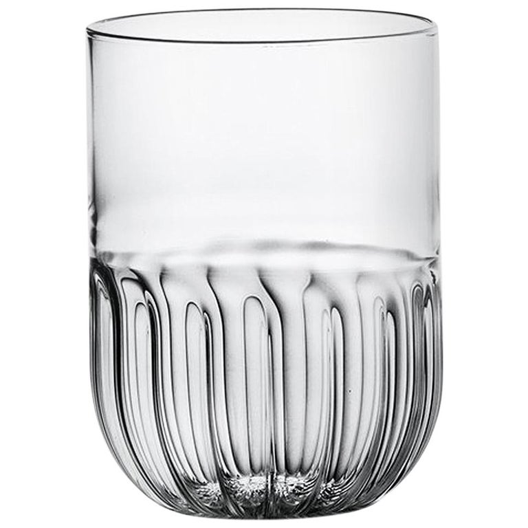 Routine Set of Four Water Glass in Mouth Blown Glass Designed by Matteo Cibic For Sale