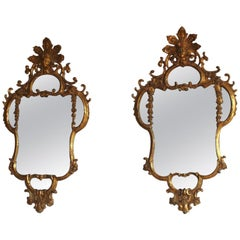 Pair of 18th Century Italian Carved Giltwood Mirrors