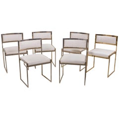 Set of 6 Dining Chairs in Brass Gold and Chrome by Willy Rizzo