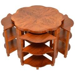 1920s Art Deco Figured Walnut Nesting Coffee Table