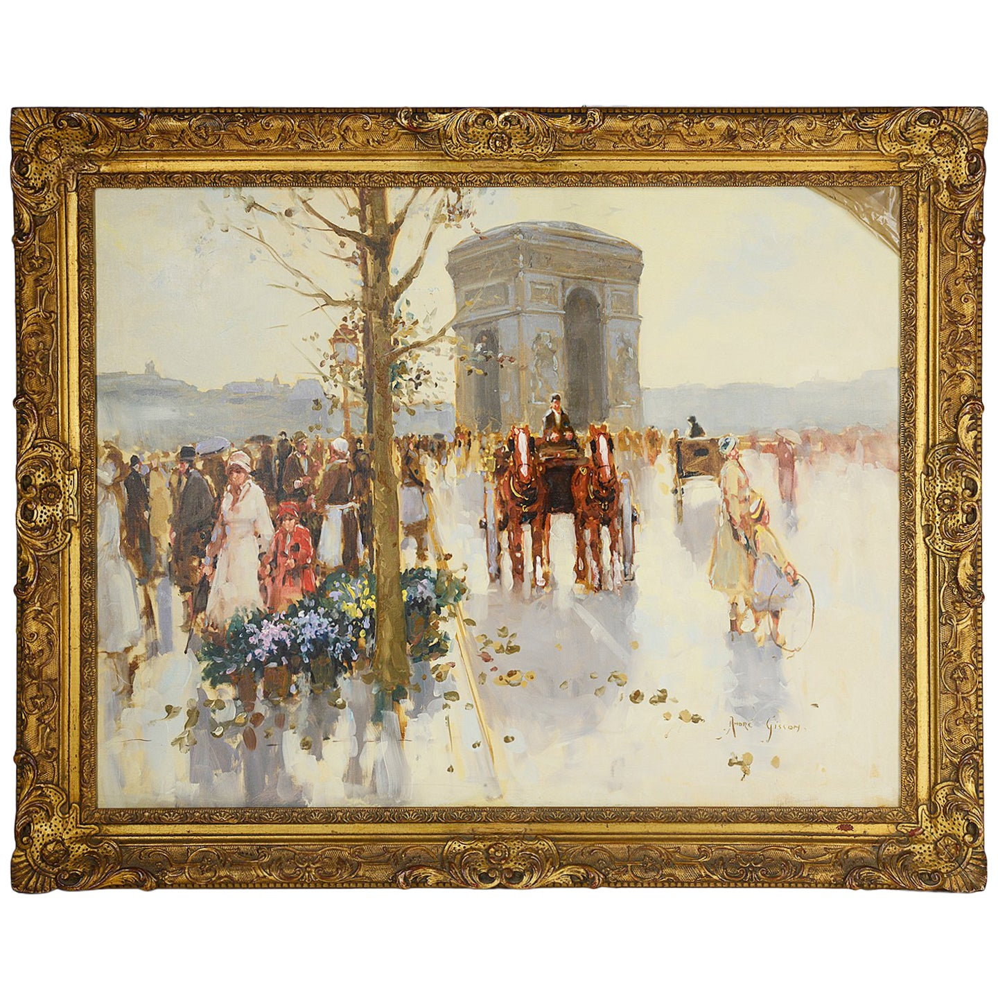 Andre Gisson Oil on Canvas of the Arc de Triomphe