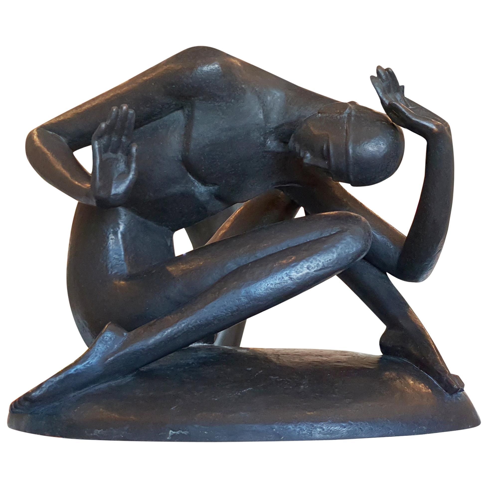 """""""Zusammenbruch"""" ( Breakdown ), Male Nude Bronze by Gerhard Schliepstein"""