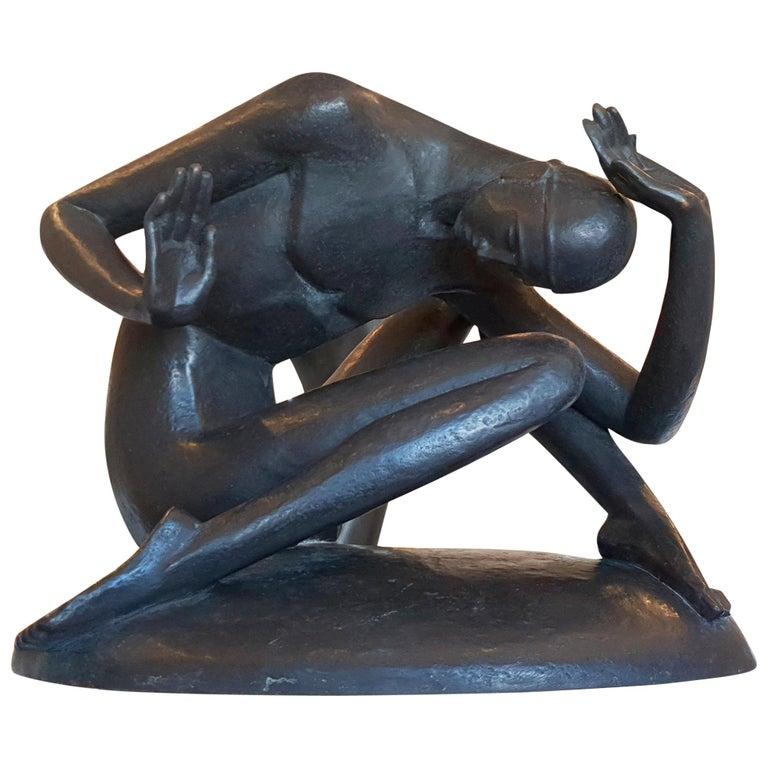 """""""Zusammenbruch"""" ( Breakdown ), Male Nude Bronze by Gerhard Schliepstein For Sale"""