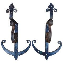 Pair of 19th Century Dutch Iron Anchor Shape Wall Brackets