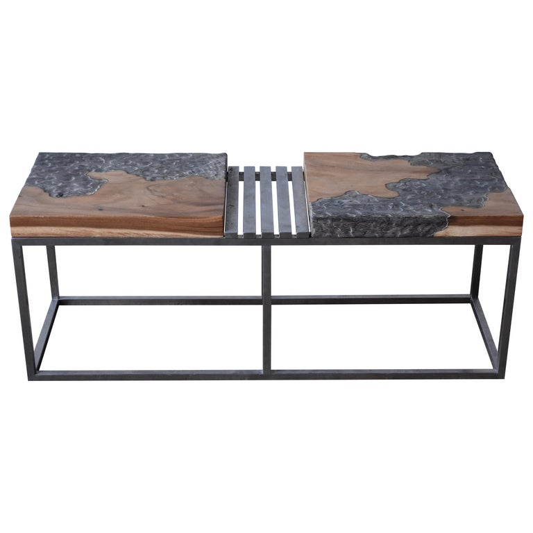 Modern Style Bench in Painted Wood and Stainless Steel by R+R Sweden Design For Sale