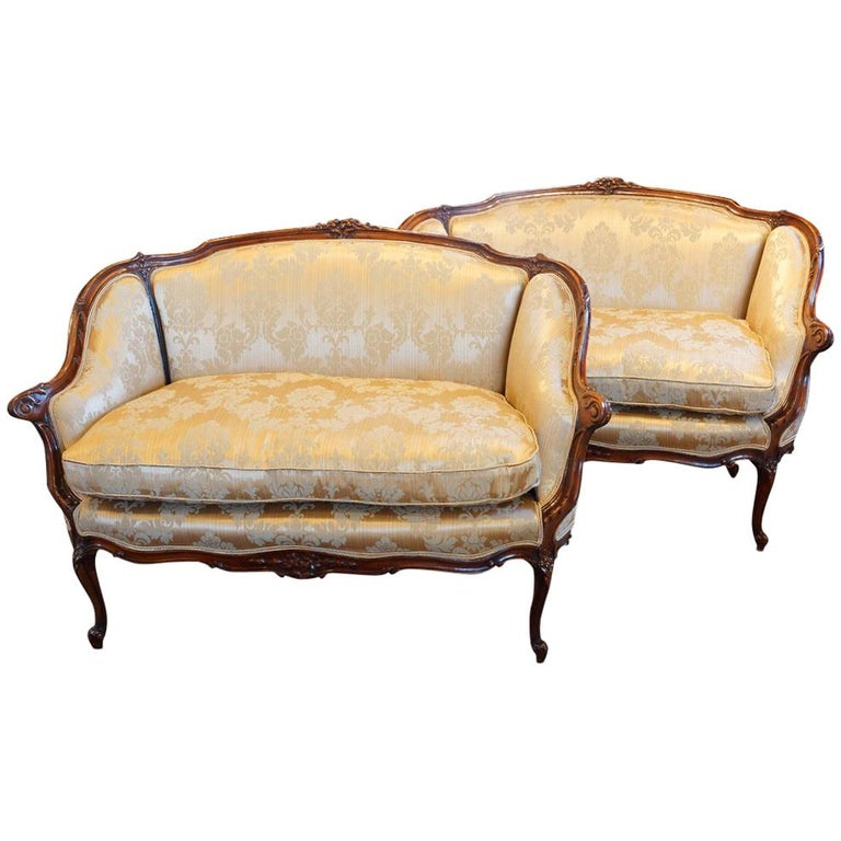 Pair of Edwardian Walnut Small Sofas For Sale