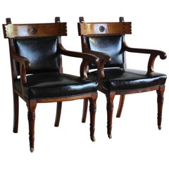 Pair of English Library Armchairs Reupholstered in Leather