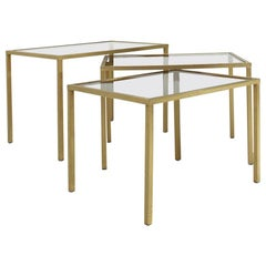Italian Nesting Table in Brass and Glass, 1970s, Set of 3