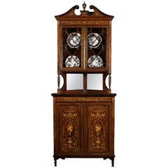 Edwardian Rosewood Inlaid Corner Display Cabinet