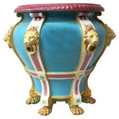 19th Century Turquoise Minton Majolica Lions Jardiniere