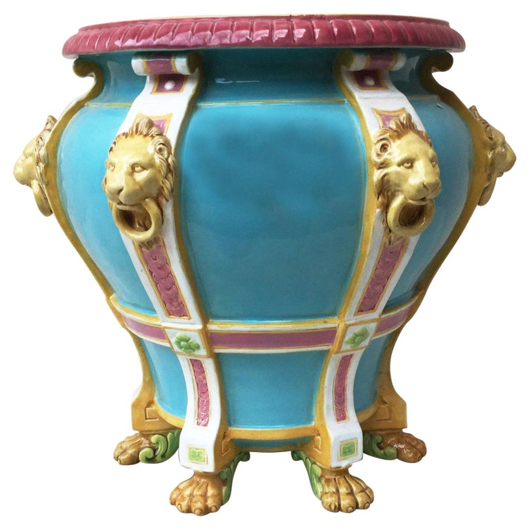 19th Century Turquoise Minton Majolica Lions Jardiniere For Sale