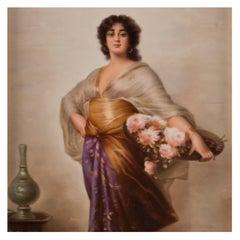 KPM Porcelain Plaque Depicting a Woman with a Basket of Flowers, circa 1900