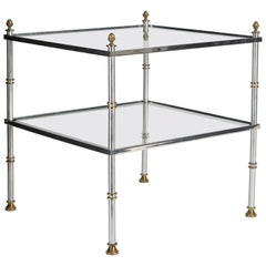 Hollywood Regency Two-Tier Jansen Style Glass Brass and Aluminum Side Table
