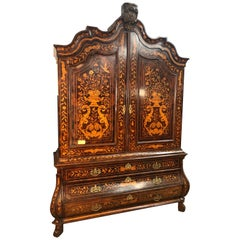 18th Century Louis XVI Walnut Ducth Inlay Trumeau Armocheirs ,1800s