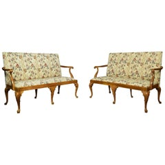 Pair of Walnut Framed Queen Anne Style Settees