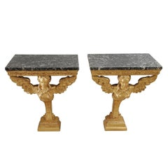 Pair of Elegant 18th Century Carved Giltwood Console Tables