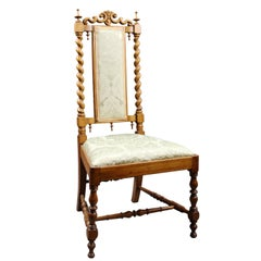 Elegant Satinwood Upholstered Barley Twist Nursing Chair