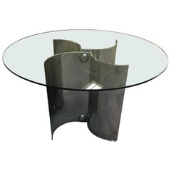 Mid-Century Modern Italian Dining or Center Chrome Based Table with Glass Top