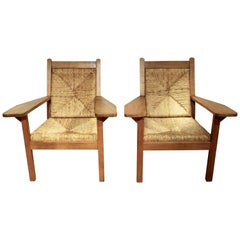 Pair of Willi Ohler Chairs in Oak and Rush, Arts & Crafts, Germany, 1920s