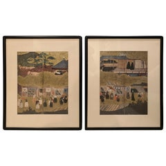 Midcentury Matted and Framed Asian Prints, Pair