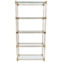 Brass and Lucite Etagere with Glass Top