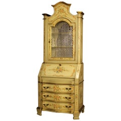 20th Century Yellow Lacquered, Gilt, Painted Wood Venetian Trumeau, 1970
