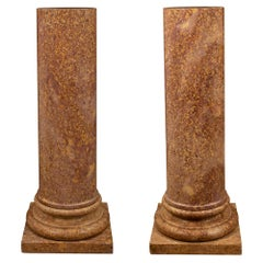 Pair of Italian 19th Century Neoclassical Style Marble Pedestal Columns