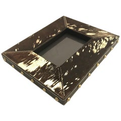 Rustic Modern Cowhide and Gold Metallic Picture Frame